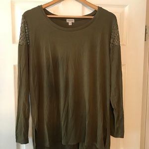 Olive Green Top With Shoulder Detail